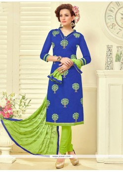 Striking Embroidered Work Churidar Suit