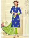Striking Embroidered Work Churidar Suit