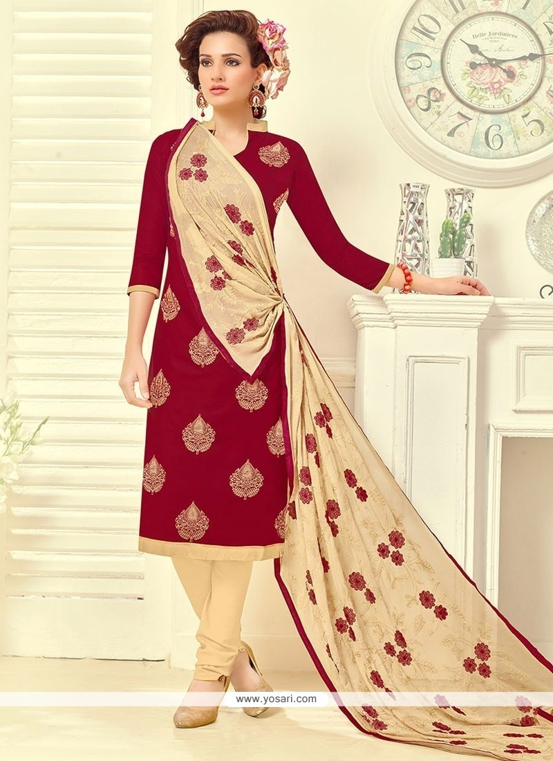 Enthralling Embroidered Work Red Churidar Suit