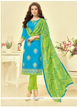 Spectacular Embroidered Work Cotton Blue Churidar Suit