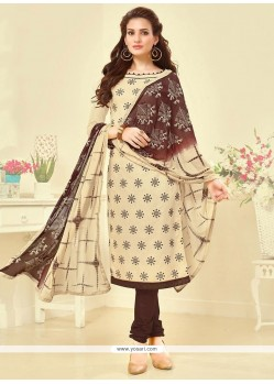 Elite Embroidered Work Cotton Churidar Suit