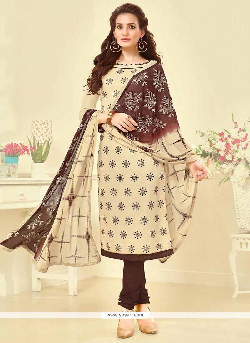 Elite Embroidered Work Cotton Churidar Suit