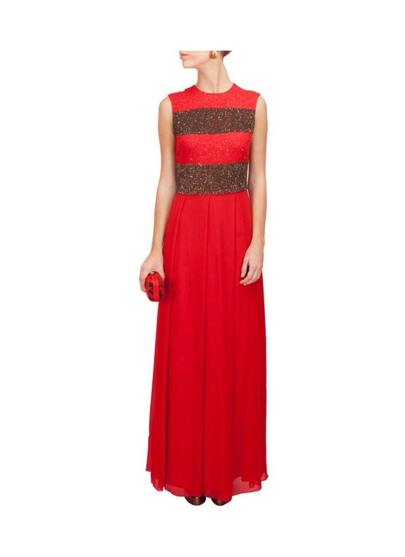 Red Georgette Pleated Maxi Dress