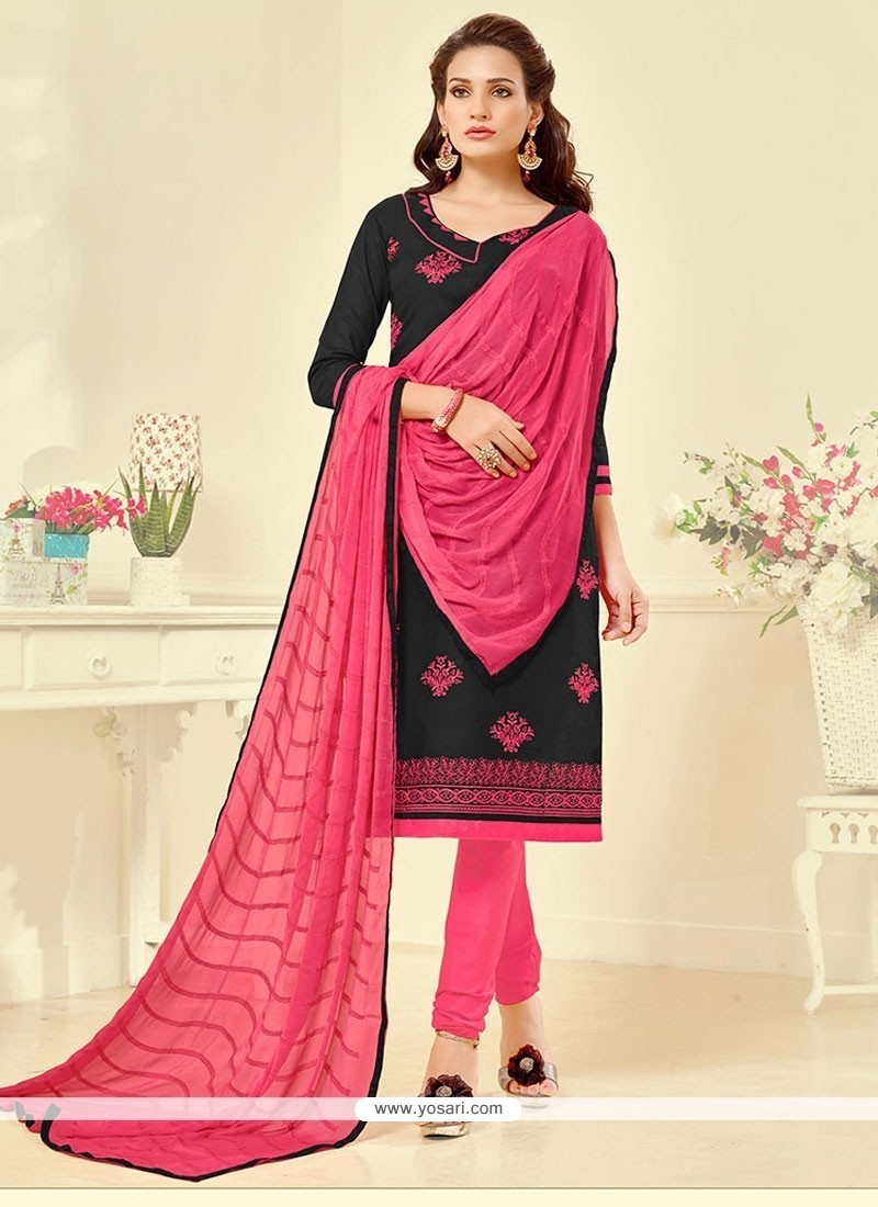 Prominent Cotton Black Embroidered Work Churidar Suit
