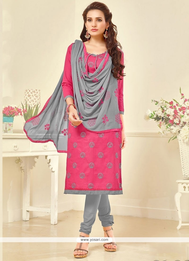 Innovative Cotton Embroidered Work Churidar Suit
