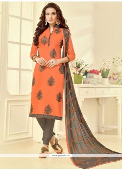 Lively Embroidered Work Orange Churidar Suit