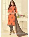 Lively Embroidered Work Orange Churidar Suit