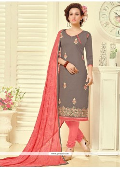 Latest Embroidered Work Cotton Churidar Suit