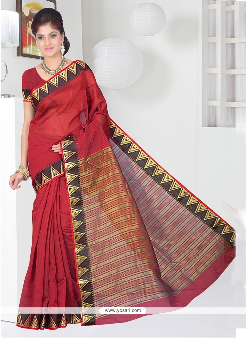 Captivating Patch Border Work Maroon Casual Saree