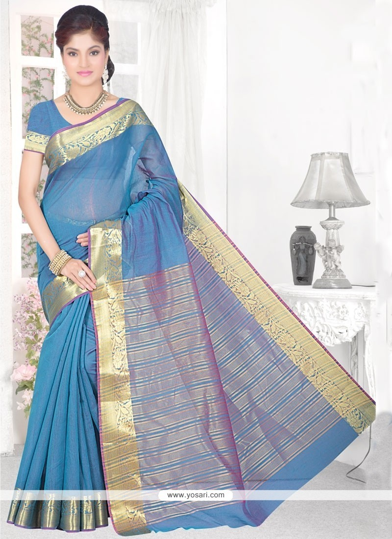 Scintillating Cotton Silk Turquoise Casual Saree