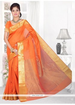 Spectacular Cotton Silk Orange Patch Border Work Casual Saree