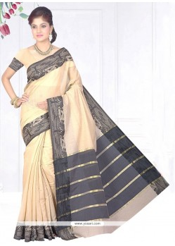 Eye-catchy Cotton Silk Beige Patch Border Work Casual Saree