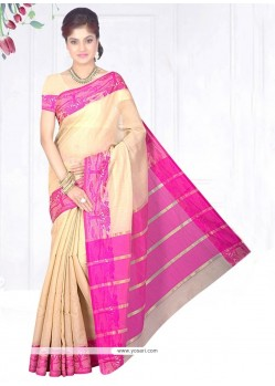 Monumental Beige Patch Border Work Cotton Silk Casual Saree
