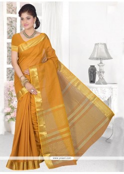 Mustard Patch Border Work Cotton Silk Casual Saree