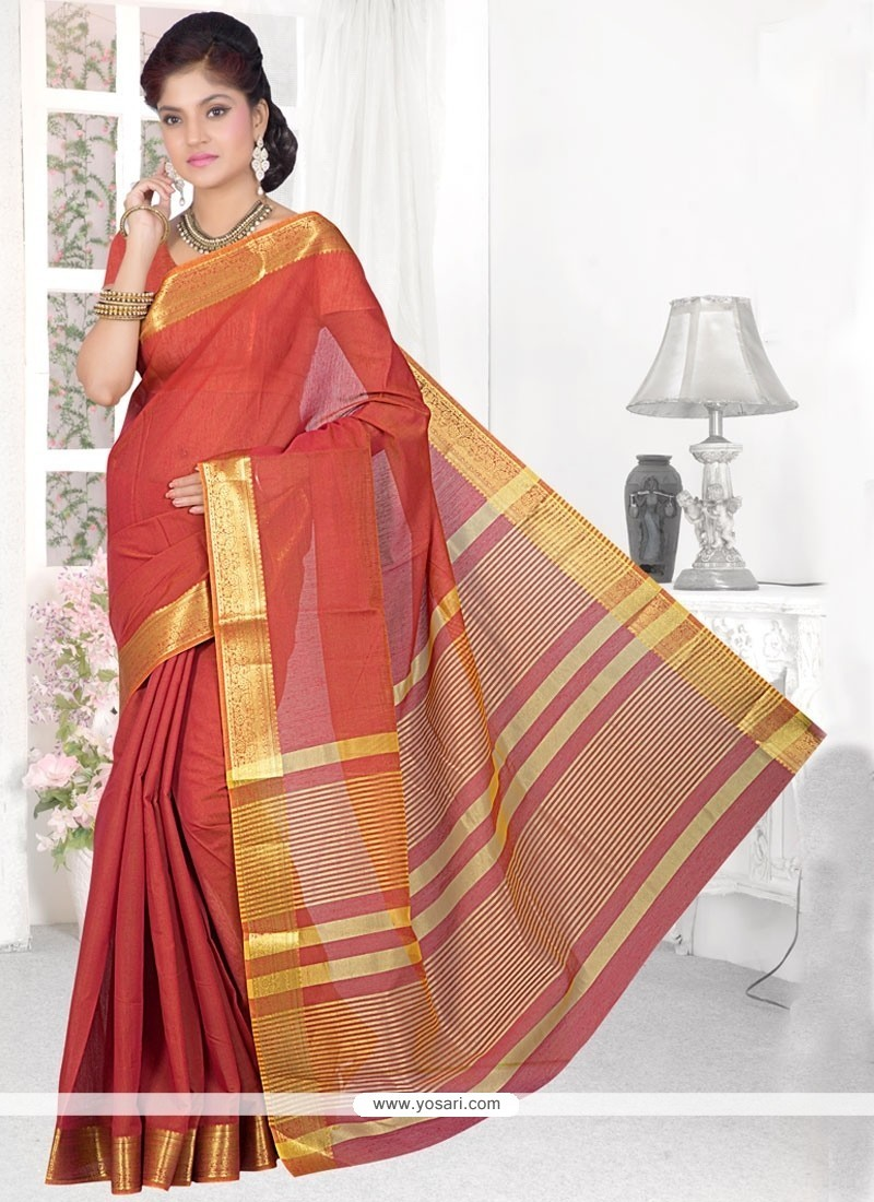 Snazzy Cotton Silk Rust Patch Border Work Casual Saree