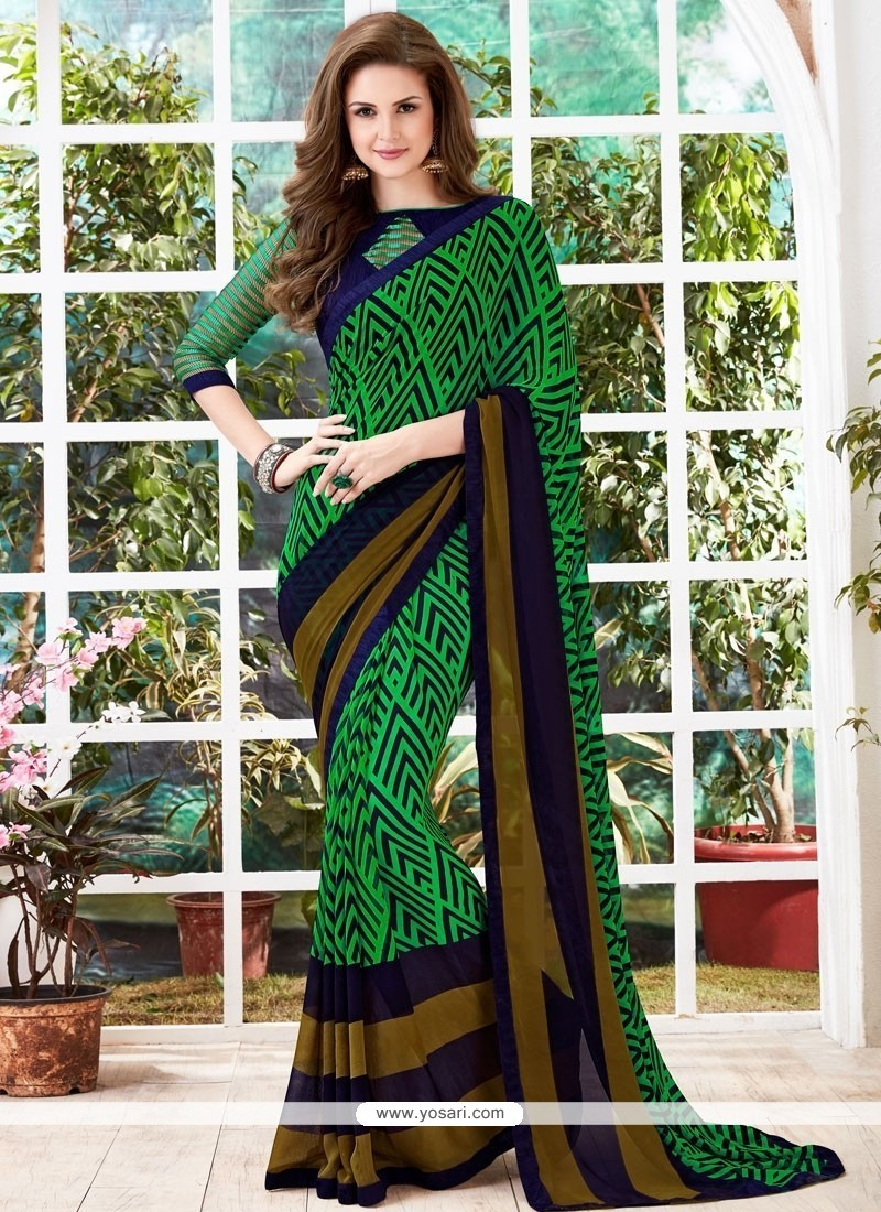 Green Print Work Georgette Casual Saree