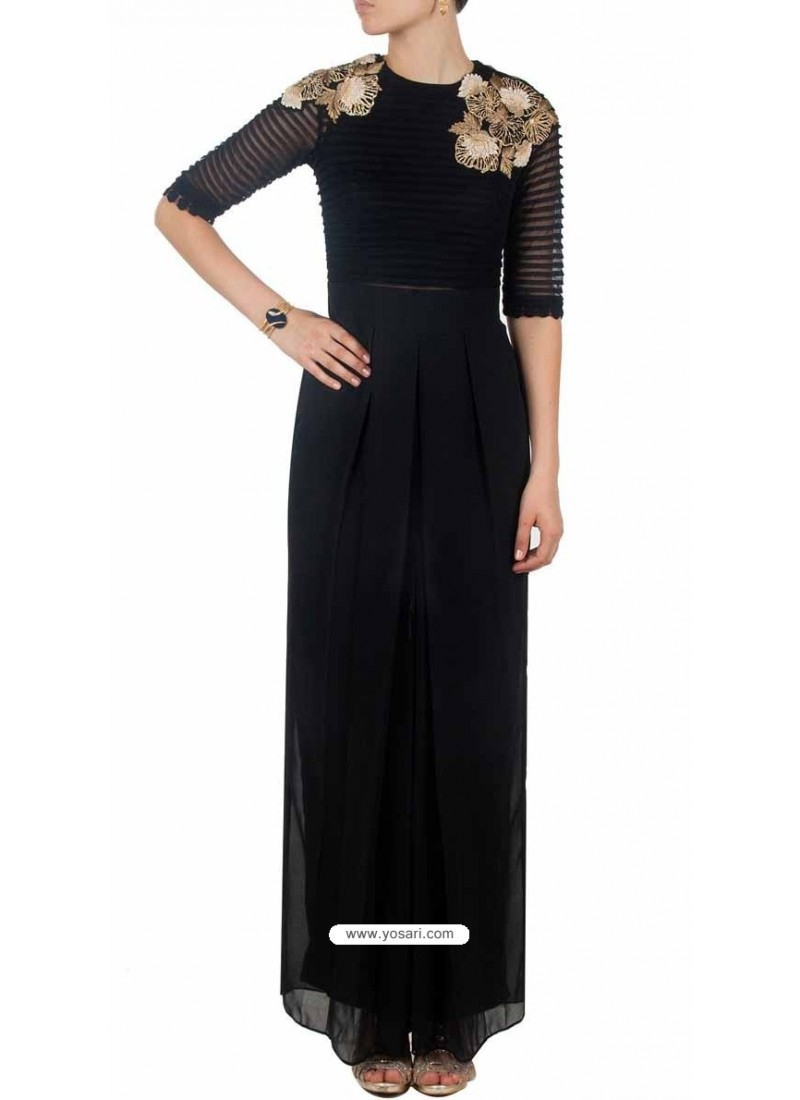 Black Pleated And Wide Legged Georgette Jumpsuit