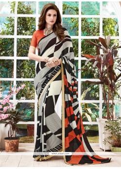 Gratifying Georgette Multi Colour Printed Saree
