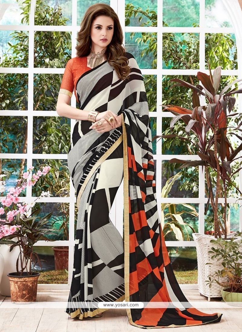 Gratifying Georgette Multi Colour Printed Saree