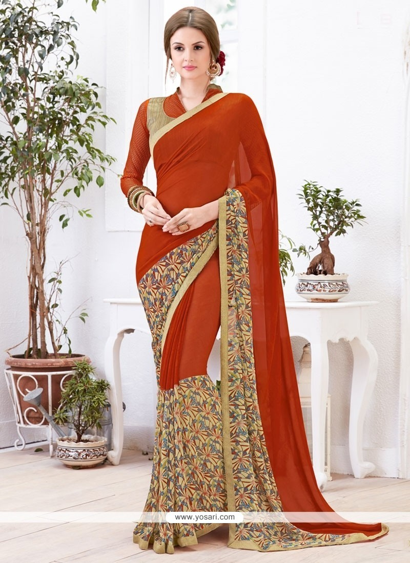 Nice Georgette Print Work Casual Saree