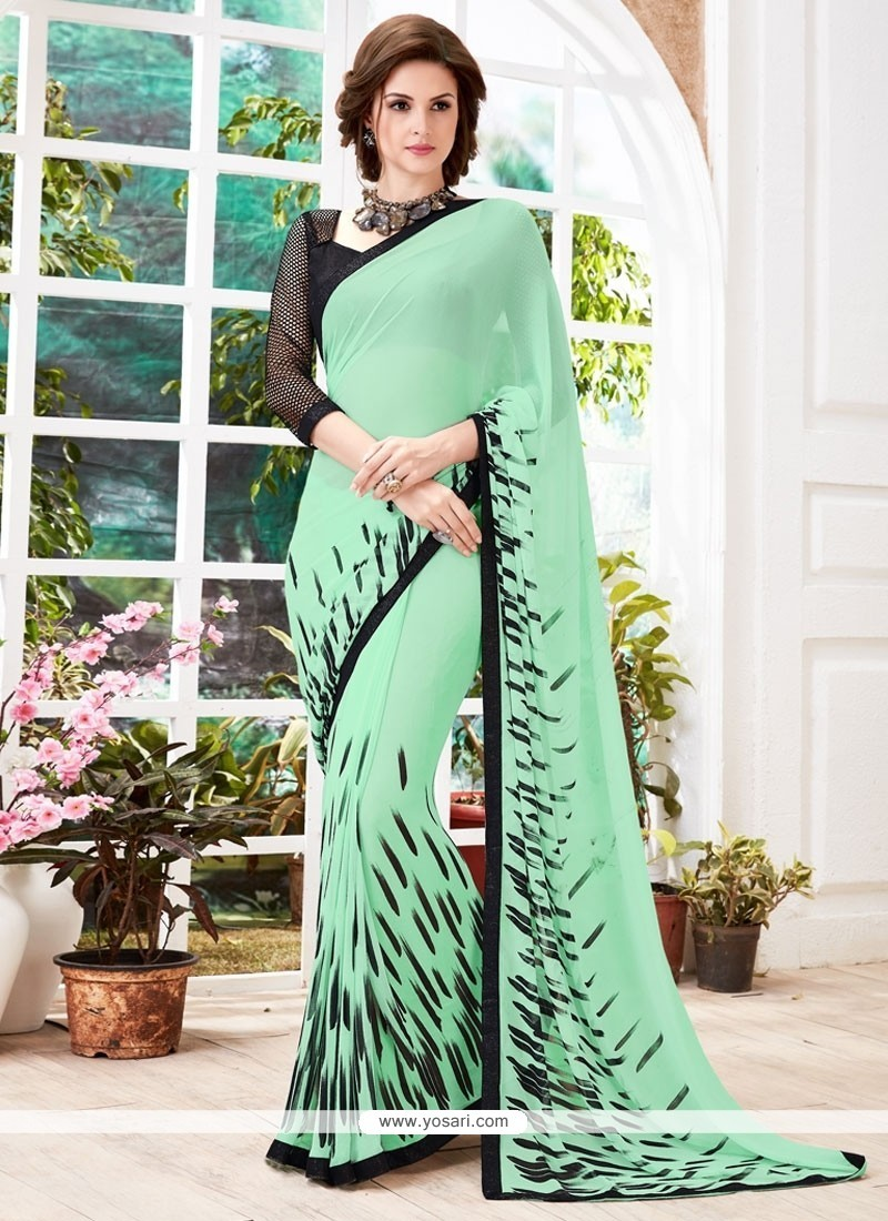 Flamboyant Green Print Work Casual Saree