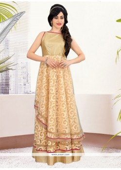 Invaluable Net Brasso Beige Readymade Gown