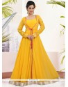 Haute Yellow Georgette Lace Work Readymade Gown