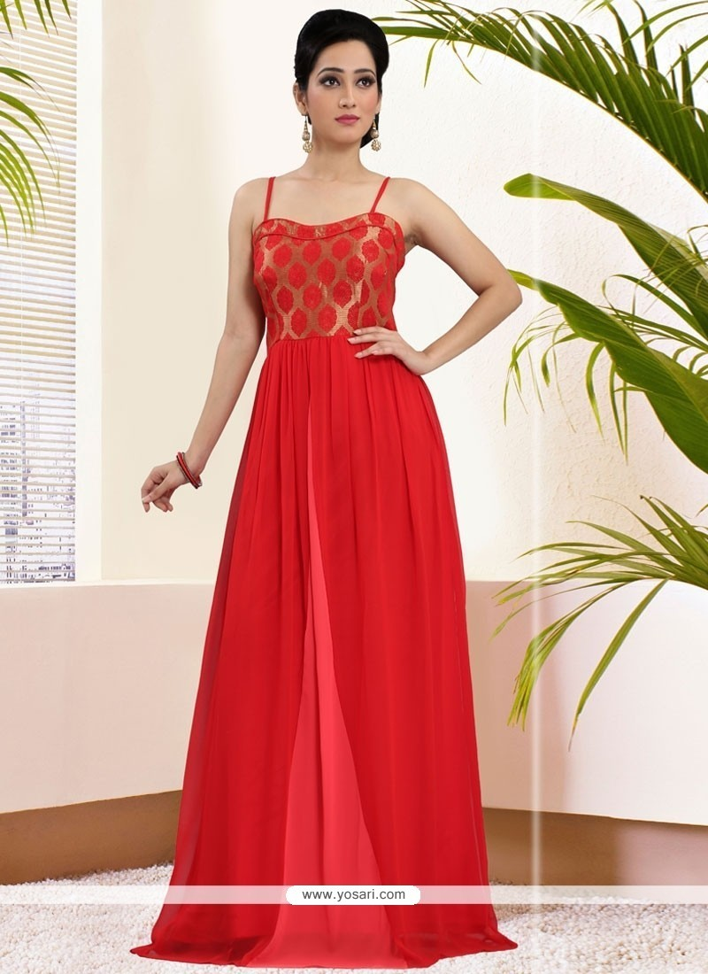Sorcerous Red Art Silk Readymade Gown