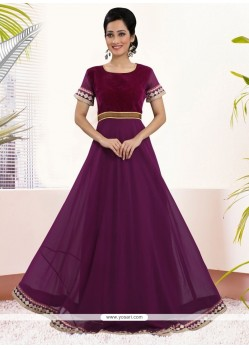 Fine Georgette Purple Embroidered Work Gown