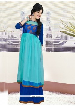Riveting Embroidered Work Net Blue Gown