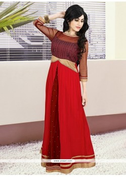 Red Georgette Embroidered Work Gown