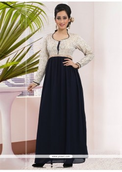 Fab Art Silk Navy Blue Embroidered Work Gown