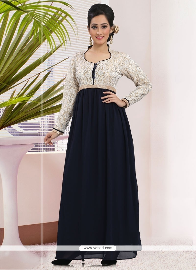 Buy Fab Art Silk Navy Blue Embroidered Work Gown | Gowns