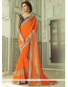 Sonorous Embroidered Work Orange Traditional Saree