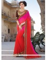 Hot Pink And Red Embroidered Work Georgette Designer Traditional Sarees