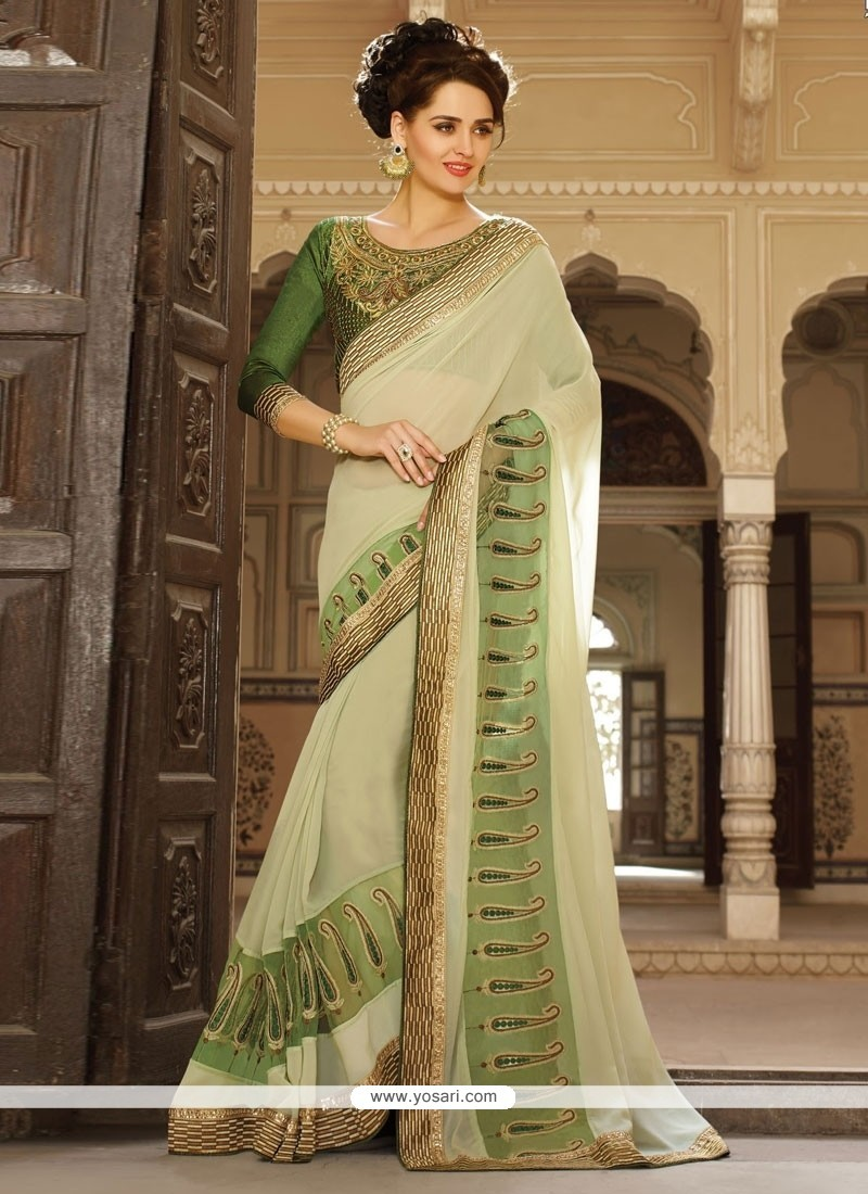 Dilettante Georgette Beige And Green Classic Saree