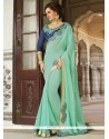 Flamboyant Embroidered Work Turquoise Classic Saree