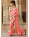 Tempting Georgette Rose Pink Patch Border Work Classic Saree