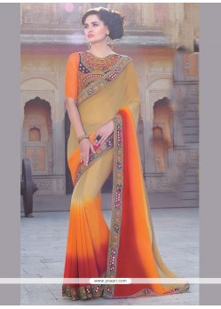 Ravishing Patch Border Work Bamber Georgette Classic Designer Saree