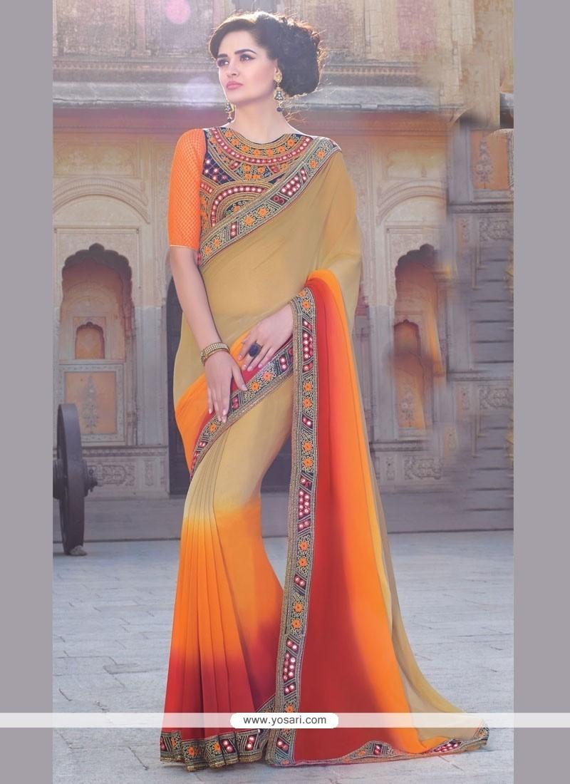Ravishing Patch Border Work Bamber Georgette Classic Designer Saree