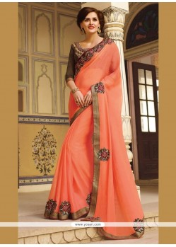 Customary Embroidered Work Orange Classic Designer Saree