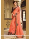 Customary Embroidered Work Orange Classic Designer Saree