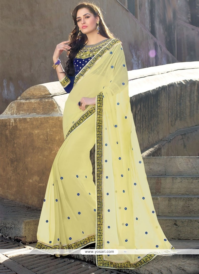 Preferable Georgette Patch Border Work Classic Saree