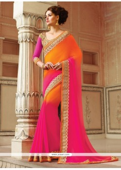 Flattering Georgette Hot Pink And Orange Patch Border Work Classic Designer Saree