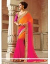 Flattering Georgette Hot Pink And Orange Patch Border Work Classic Designer Saree