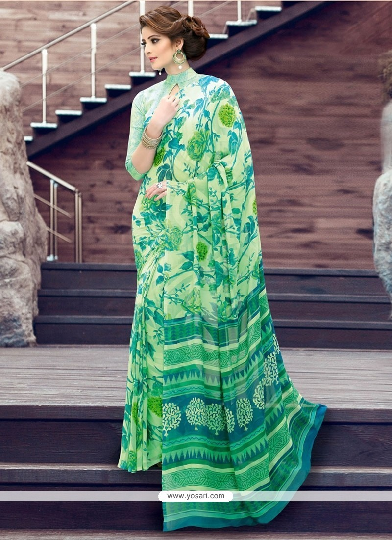 Congenial Print Work Sea Green Printed Saree