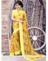 Honourable Yellow Georgette Printed Saree