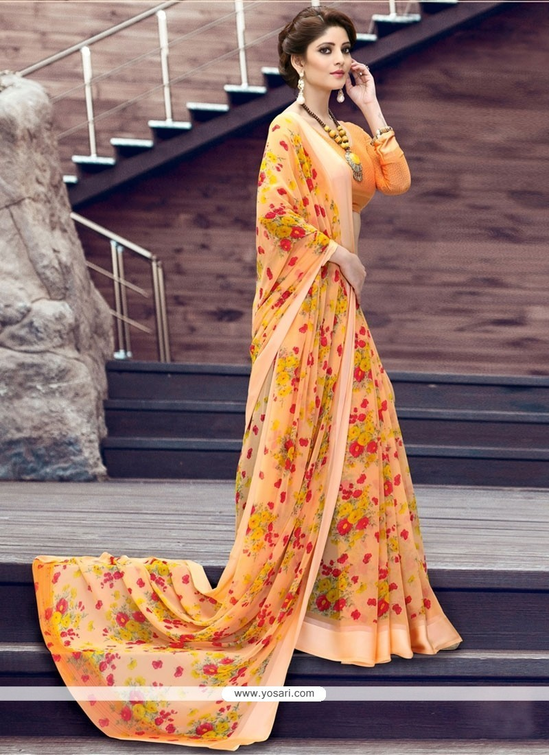 Intricate Georgette Print Work Printed Saree