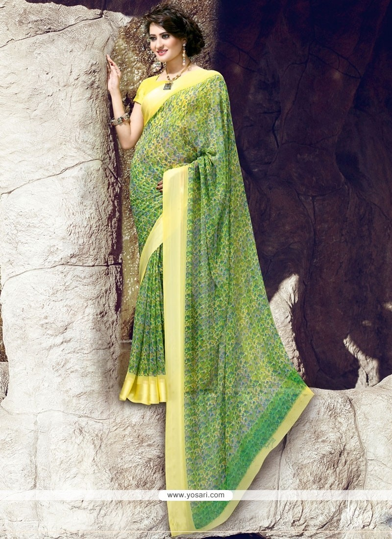 Monumental Georgette Green Print Work Printed Saree
