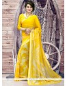 Whimsical Georgette Yellow Print Work Printed Saree